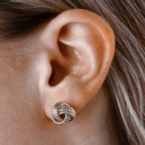 Sterling Forever Silver Mesh Knot Earrings